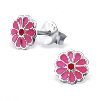 """Dětské stříbrné náušnice """"Růžové květinky"""". Ag 925/1000"""